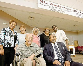 St. Andrewes African Methodist Episcopal Church, 521 W. Earle Ave., Youngstown, will mark its 140th anniversary during a three-day observance next weekend. Celebrants at the oldest church of black American heritage in Mahoning County are, from left seated, Stanley W. Payne, trustee, and the Rev. Dr. Steven A. Jackson, pastor. Back left, Tuana Bennett-Vinson, anniversary chairwoman; Louise F. Payne, anniversary committee; Annie Brown, trustee; Judy Tarver, steward; and Steffon W. Jones, historian.