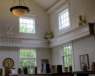 All along the wall on the main floor are busts of thinkers, philosophers and  presidents
