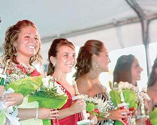 2009 Ms. Italian, Samantha Marsico, 18 of Howland, 1st Place, Alexandra Schiavone, 17 of Howland, and 2nd Place, Cassandra Dando, 19 of Newton Falls, stand along other pageant winners in various categories during Warren's Italian Festival on Courthouse Square, Thursday evening.