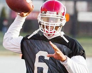 YSU quarterback Brandon Summers during practice.