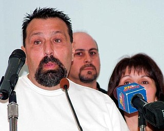 "FAMILY SPEAKS: Chuck Serafino talks with reporters after the execution of Jason Getsy, 33, who killed Serafino's mother, Ann, of Hubbard in 1995. Chuck Serafino said Tuesday at the Southern Ohio Correctional Facility near Lucasville that Getsy never ""took responsibility for what he did."" Chuck Serafino was shot in the face."