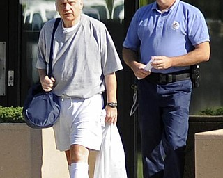 Former Ohio congressman Jim Traficant, left, is released from federal prison in Rochester, Minn., Wednesday, Sept. 2, 2009. Democrat Traficant is ending a seven-year federal prison stay for accepting bribes and other corruption charges. (AP Photo/Craig Lassig)