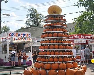 A pumpkin display at the fair.