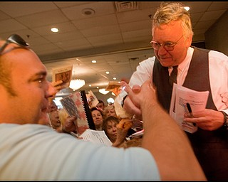 The Vindicator/Geoffrey Hauschild Jim Traficant speaks, signs autographs, and takes photographs with supporters at Mr. Anthony's on Sunday evening. 9.6.2009