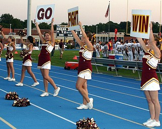 South Range cheerleaders lead the crowd...Go, Fight, Win!