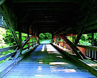 The site held several bridges over the years. Covered bridges helped to keep horses calm as they crossed over water