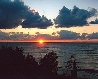 Sunset on Lake Erie in Saybrook, between Geneva-on-the Lake and Ashtabula. Provided by Howard and Suzie Hallas.