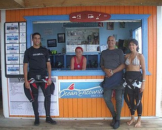 Anthony Pannunzio, Dominic Pannunzio and Andrea Pannunzio, all of Mineral Ridge, are preparing to go scuba diving on the island of Curacao in the Netherland Antilles.