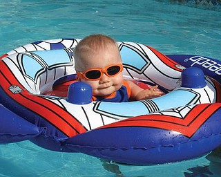 This is a picture of Shawn Anthony Marcello, 9 months old, spending his summer vacation in the pool with his daddy, Shawn V. Marcello. Picture was sent by his mommy, Amanda Marcello. They live in Hubbard.