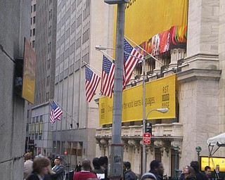 Sean and Liana Pregi of Boardman stopped at Wall Street during their vacation in New York.