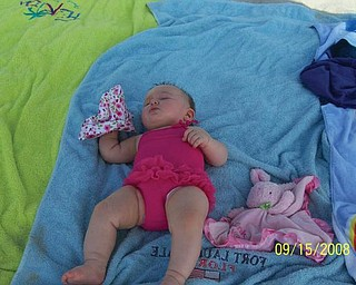 6-month-old Alexandra Cvetkovic, daughter of Nikki and Mathew Cvetkovic of Austintown, looks like she's had enough vacationing She and her family were at Myrtle Beach in September.