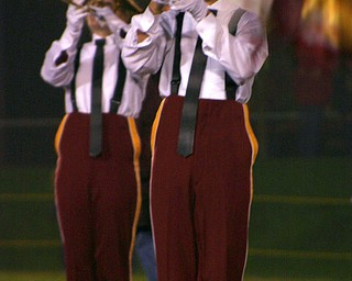 """Senior Clay Proust plays his trumpet to ""Zoot Suit Review"" in the