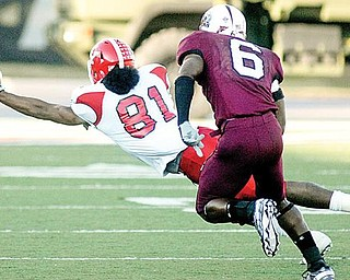 LOOKING AHEAD: Youngstown State's Donald Jones (81) reaches for a pass while being watched by Southern Illinois' Brandon Williams (6) during the Salukis' 27-8 win over the Penguins on Saturday in Carbondale. The Penguins are preparing to take on South Dakota State this Saturday.