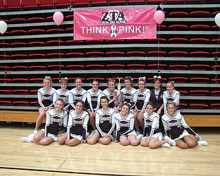 THINK PINK:  Boardman High School cheerleaders participated in the Zeta Tau Alpha's Pink Ribbon Cheer Classic at YSU on Sunday, October 25th and received the Biggest Donor Award by raising more than $4,000.