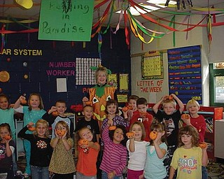 These kindergarten students participated in the Green Team's pumpkin recycling lesson at Springfield Elementary School.