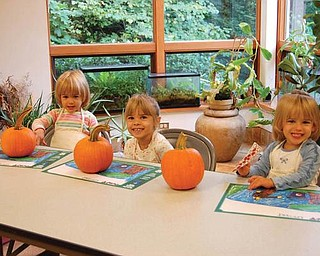 Getting ready to paint a pumpkin at the Davis Center in Mill Creek Park last October are Lindsay Jones, 3; Samantha Jones, 4; Allison Jones 3.