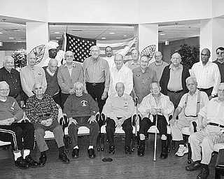 """Special to The Vindicator THANK YOU, VETERANS! Whispering Oaks Retirement Community, 260 S. Buhl Farm Drive, Hermitage, honors its veterans and supports our troops. From left to right, front row, are Francis """"Shorty"""" McCann, Bill Shaffer, Nick """"Perp"""" Scarmack, Dominic Marletto, Dr. Ira Flamberg, John Dunkerly, and Art Langford. Second row: Joe Laslow, Wayne Clepper, Dr. John Blank, Joe Boyd, Don Bennett, Joe Baldwin, Jim Hancock, Tom Horseman, Russell Phillips, and bus driver Jim Summers. Third row: Sous Chef James Harris, Executive Chef Steve Brandt, Mel Lutton and Leland Howard. Not shown are Erma Blair, Dr. Joe Bolotin, Ralph Hudspeth, Chet Joyner, Ron Mackey, Andrew Prelee, and Reg Vernon. The public is invited to join in honoring the veterans at 2:30 p.m. Wednesday. It will be an outdoor ceremony with refreshments to follow. Donations of nonperishable items are appreciated, as they will be placed in packages to be sent to our soldiers. For more information, call (724) 347-3050."""