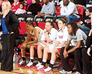 PENGUINS IN ACTION: Youngstown State women's basketball coach Cindy Martin, standing, will lead the Penguins against No. 19 Pitt tonight at Beeghly Center.