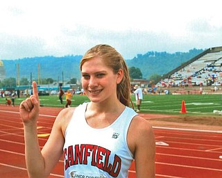Leanna Hartsough placed first in the Regional Junior Olympics high jump event in Charleston, W.Va. She tied the Canfield High School record.