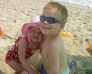 Landon and Lanie Joyce of Boardman went to the beach on their first family vacation this summer.