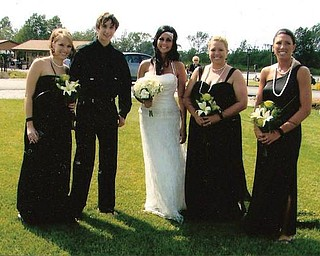 On July 11 when Ashley Horvath married Ryan James, she is surrounded by her cousin, Mikhi Horvath; her brother, Colton Horvath; and her cousins, Dr. Amy Toth Dahl and Chrissy Toth.