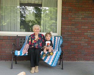 3-year-old Anthony Triveri's favorite part of summer was the time he enjoyed with his great-grandma, Marie 'Nunnie  Tekac of Coitsville, just sitting on the front porch and telling stories. Anthony lives in Poland.