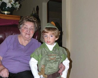 3-year-old Anthony Triveri of Poland dressed up as Peter Pan for his grandma, Gloria Loboy of Campbell.
