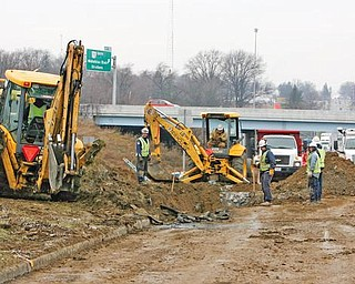 WORK ZONE: Crews from Dominion East Ohio are replacing a 16-inch high-pressure steel gas main that ruptured under Midlothian Boulevard, causing an explosion. It left an 8-foot-deep and 16-foot-wide crater in the eastbound curb lane of Midlothian at the Interstate 680 interchange.
