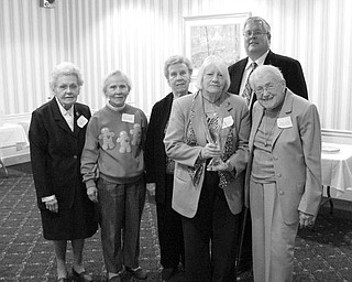 Special to The Vindicator REWARDED FOR caring: A highlight of the Nov. 16 meeting of Shepherd of the Valley was the presentation of the coveted Helen R. Stambaugh Award. Taking part in the presentation ceremony, were, from left, Marge Tomo, Doris Vandenbosch, Jean Orr, Shirley Megown, and Helen R. Stambaugh, and in back, Kurt Sauer, president of the Shepherd of the Valley Board.