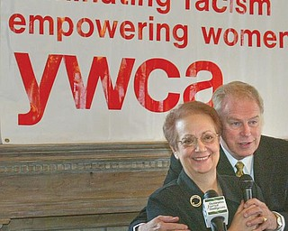 YWCA VISIT: Gov. Ted Strickland and Constance Shaffer, executive director of the Youngstown YWCA, announced that the Rayen Avenue facility will receive a $1.1 million state historic preservation tax credit.