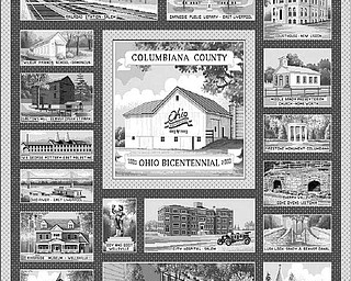 """Special to The Vindicator HISTORICAL treasure: Eighteen scenes from around the county are depicted in Columbiana County Bicentennial throws that are being sold by Salem Historical Society as colorful mementos of days of yore in the county. The throws are available for $55 each at 208 W. Broadway Ave. The society is also selling 2010 Salem community calendars, featuring the homes of early industrialists, and the recently released book, """"Backyard History,"""" featuring area carriage houses. Until the end of the year the society will sell the 156-page book """"The Salem Story Continues"""" for the reduced price of $20. The book chronicles the past 50 years of Salem's history and lists Salem High School coaches and Salem officials who have served during the past 50 years.  For more information call (330) 337-8514."""