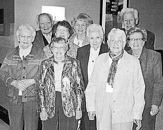 Special to The Vindicator SENIORS: Members of Boardman High School Class of 1944 met for a 65th reunion on Oct. 17 at the Holiday Inn in Boardman. The BHS graduates attending the event are, from left front row, Irma Brothers Schilling and Jean McKenzie Baun; second row, Billie Jane Price Berndt, Roberta Pool Johnson, Edith Rodway Renfrew and Odessa Stacy Marshall; and in back, Joe Andio, Shirley Skinner Staaf, and Ed Olson.