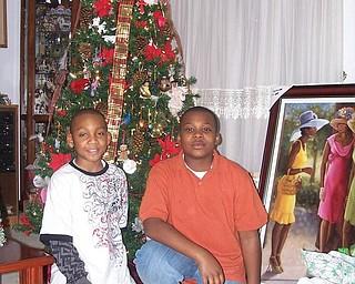 Sandra Allen-Bowman of Youngstown was visited by her grandsons, Patrick Allen Jr., left, and Steven Allen Jr., on Christmas Eve.