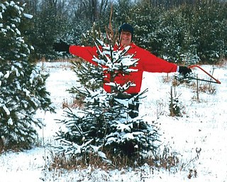 CUTTING LOOSE: Billy Speece cuts down a Christmas tree on his farm in Canfield.