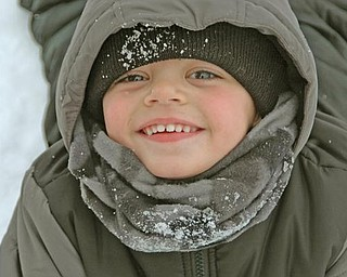 While Mahoning Valley drivers were cursing the white stuff coating area roads Thursday, some kids managed to find the silver lining in the snow clouds that blanketed the Northeast. James Adkins, 3, was playing in the snow with his brother Mason Adkins and their grandpa James Adkin at Packard Park.