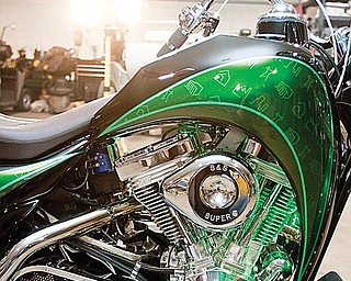 CLOSE-UP LOOK: The hybrid motorcycle designed by Lawless Industries features two electric motors and a gasoline-powered engine.