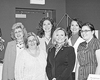 Special to The Vindicator ON A MISSION: Assuming leadership roles in Youngstown Business and Professional Women's Club and continuing the club's mission of achieving equity for all women in the workplace, are, from left, Judy Kovalan, corresponding secretary; Marianne Barron, treasurer; Tracie Schmidt, vice president; Traci Miller, president; Megan Phillips, president-elect; and Karen Raghanti, recording secretary.