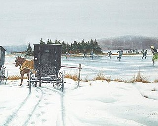 WINTRY LANDSCAPE: Florian K. Lawton's white-on-white technique is showcased in this piece, which features Amish families ice skating on a lake.