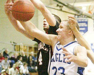 The Vindicator/Robert K. Yosay T A K E A W A Y - Hubbards #23 Mike Lopuchovsky and Campbells #4 Nate Hodge fight for the ball - eagles came up with the ball -