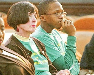 KING WORKSHOP:  Penny Wells, left, and Greg Jones were among those who attended a Martin Luther King Community Workshop at First Presbyterian Church, 201 Wick Ave. The event took place Monday to commemorate the Rev. Martin Luther King Jr.'s birthday.