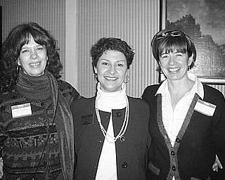 Special to The Vindicator TWO FOR ONE: Suzanne Barbati, who is stepping down from her leadership role as president of the League of Women Voters of Greater Youngstown, has turned over her duties to Holly Burnett-Hanley and Sarah Lown, who have agreed to share the leadership duties. The transfer of power came shortly after the LWVGY hosted a brunch attended by a number of state representatives and state senators. The speaker was Max Blachman of United States Sen. Sherrod Brown's office.