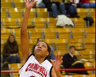 The Vindicator/Geoffrey Hauschild.Campbell's Iesha Moses during the third quarter of a game at Campbell High School on Wednesday evening.