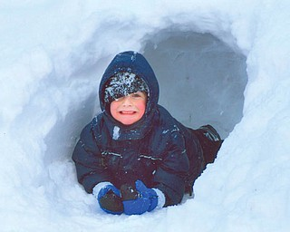 SNOW WAY OUT: Justin Mackey of Boardman exits the snow cave that he and his dad created on Spring Garden Court...