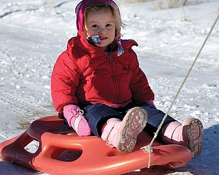 Hannah LaPlante of Poland went sledding during a family trip to Woods Landing, Wyo., to visit relatives for Christmas..