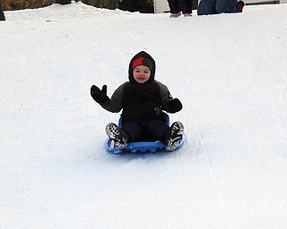 David LaRosa, 2, went sled riding the first time he played in the snow. He is the son of Danielle and David LaRosa of Boardman..
