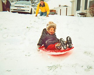 GOING DOWNHILL: Ethan Nelson, son of Liz and Scott Nelson of Boardman, had a blast spending the day at his grandparentsÕ, Jay and Karen Gresh of Austintown..