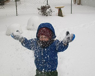 LET IT SNOW!: Timmy Kerr, age 2, of Poland made his own snow flurries!