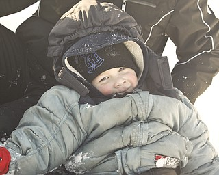 The Vindicator/Lisa-Ann Ishihara--- Zach Ward (3) of Liberty is all bundled up for sledding in the snow at Mill Creek Park's  Wick Recreation Area .