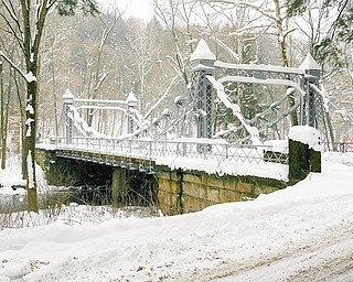 Picturesque spot: If you are brave enough to face winter's fury, another place to take a Valentine's Day date is the historic Silver Bridge in Mill Creek Park in Youngstown.