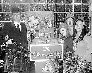 Special to The Vindicator HELPING OUT: Boardman Poland Junior Women's League has planned a St. Patrick's Day celebration March 13 that will benefit 11-year-old Paige Neville, who suffers from a rare vascular condition. From left to right are bagpiper Stephen Sutherland Holter, who will perform at the event; Paige; Nina Lowery; and Gretchen Neville, Paige's mother.